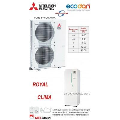 HEAT PUMP ECODAN Split Type POWER INVERTER PUHZ-SW120V/YHA With INDOOR UNIT EHST20C-VM2C + PAC-DP01-E