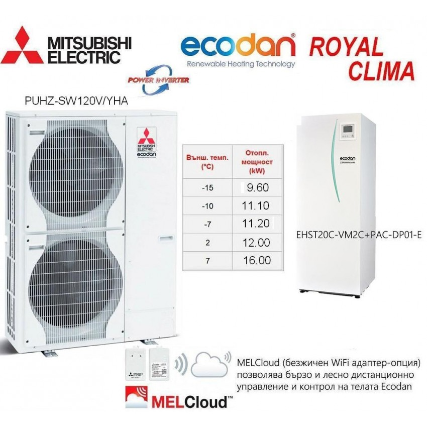 HEAT PUMP ECODAN Split Type POWER INVERTER PUHZ-SW120V/YHA With INDOOR UNIT EHST20C-VM2C