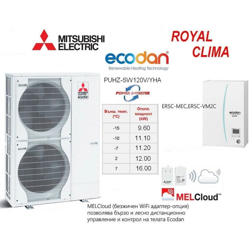 HEAT PUMP ECODAN Split Type POWER INVERTER PUHZ-SW120V/YHA With INDOOR UNIT ERSC-MEC/VM2C